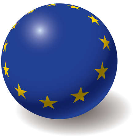 european union: European union flag texture on ball. Design element. Isolated on white. Vector illustration.