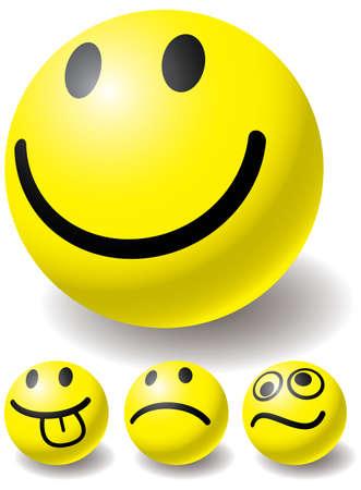 Set of four smiles-ball for you design. Vector illustration. Isolated on white background. Illustration