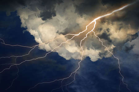 Lightning on clouds sky. Combine photo and raster illustration. illustration
