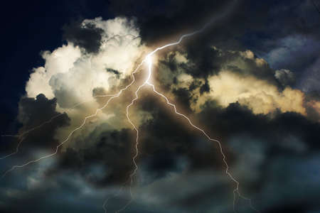 storm rain: Lightning on clouds sky. Combine photo and raster illustration.