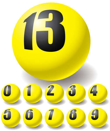 numerics: Numeric yellow balls. Design elements. Vector illustration.