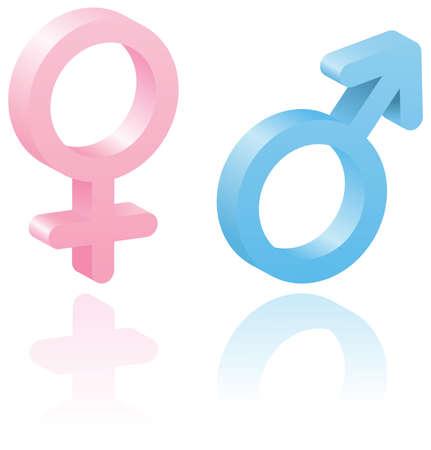 3d símbolos masculinos y femeninos. Ilustración vectorial. Conjunto de elementos para que el diseño. Aislado en blanco.