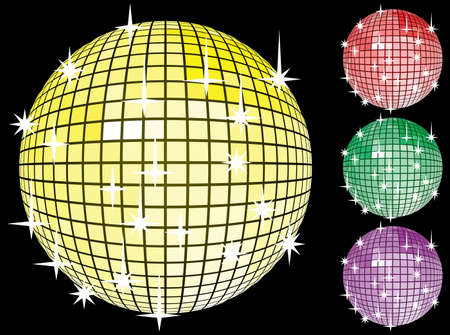 computer club: Colored set of mirror disco-balls. Vector illustration for you design. On black background.