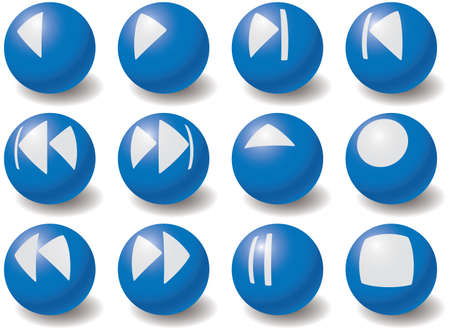 blue button: Set of multimedia navigation symbols. Vector illustration. Set elements for your design. Isolated on white. Illustration