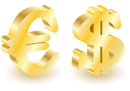 Dollar and euro money 3d symbols. Vector illustration. Set elements for you design. Isolated on white. Illustration