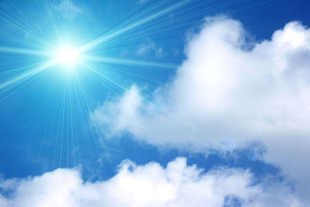White and sun clouds in the blue sky. The high resolution.