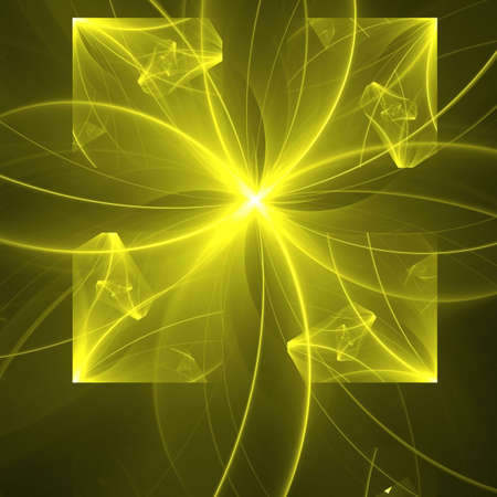 Abstract background. Yellow - black palette. Raster fractal graphics. photo