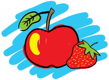 simulate: Strawberry and red apple. Sketch simulate. Vector illustration.