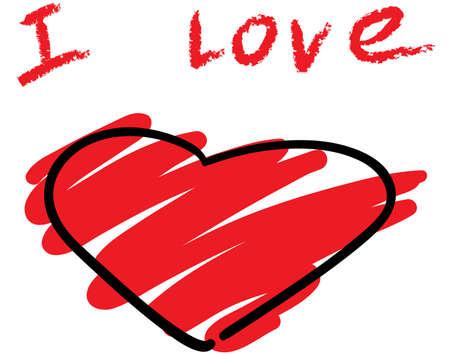 simulate: Stylised heart symbol. Sketch simulate. Vector illustration. Illustration