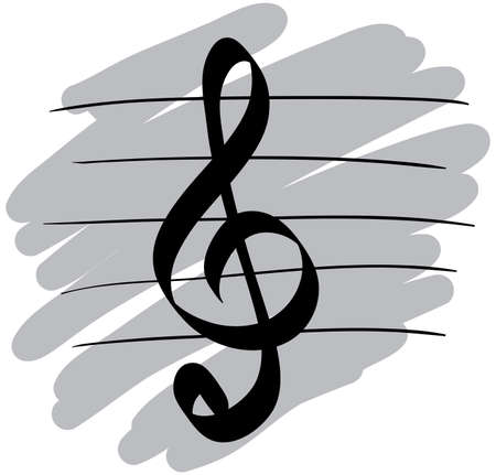 Stylized music symbol. Sketch simulate. Vector illustration.