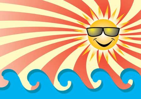 sol caricatura: Sol en el mar. Ilustraci�n vectorial.