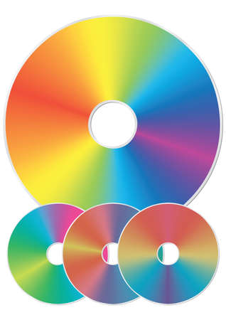 compact disk: Compact disk with rainbow reflections. Isolated on white background. Vector illustration. Illustration