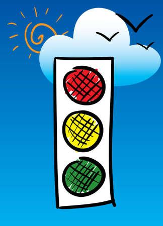 시뮬레이션: Traffic-light. Sketch simulation. Vector illustration.