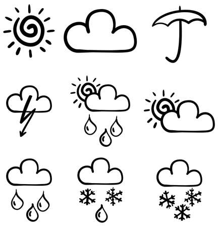 Set of symbols for the indication of weather. Vector illustration. Sketch simulate. Vector