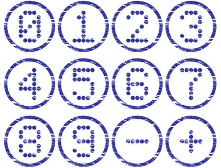 nulo: Matriz d�gitos iconos conjunto. Grunge. Blanco - azul oscuro paleta. Ilustraci�n vectorial.