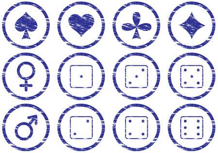 Games icons set. Grunge. White - dark blue palette. Vector illustration. Vector