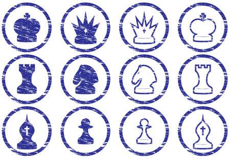 Ajedrez iconos conjunto. Grunge. Blanco - azul oscuro paleta. Ilustración vectorial. Ilustración de vector