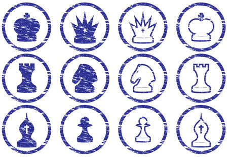 Chess icons set. Grunge. White - dark blue palette. Vector illustration. Stock Vector - 5101113