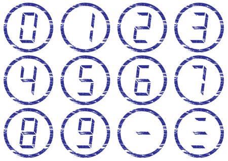 liquid crystal: De cristal l�quido de d�gitos iconos conjunto. Grunge. Blanco - azul oscuro paleta. Ilustraci�n vectorial. Vectores