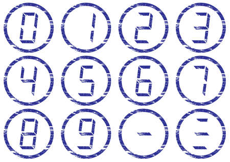 the liquid crystal: Liquid crystal digits icons set. Grunge. White - dark blue palette. Vector illustration.