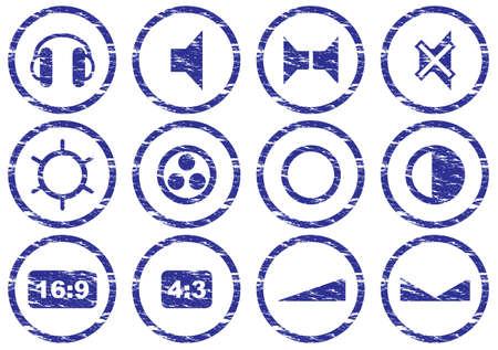 16 9 display: Gadget icons set. Grunge. White - dark blue palette. Vector illustration.