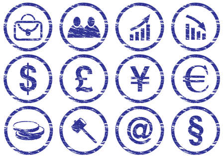 Gadget icons set. Grunge. White - dark blue palette. Vector illustration. Stock Vector - 5101130