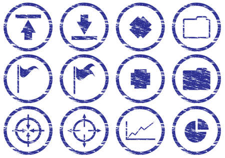 Gadget icons set. Grunge. White - dark blue palette. Vector illustration. Stock Vector - 5101126