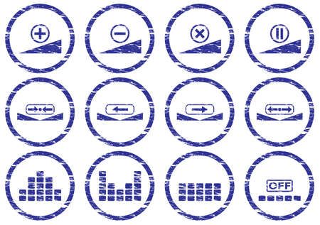 preset: Gadget icons set. White - dark blue palette. Vector illustration. Illustration