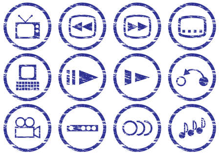 Gadget icons set. White - dark blue palette. Vector illustration. Stock Vector - 5101123