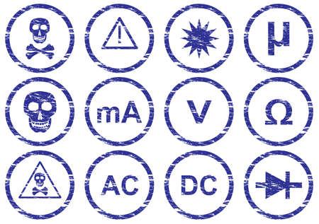 Gadget icons set. Grunge. White - dark blue palette. Vector illustration. Stock Vector - 5101140