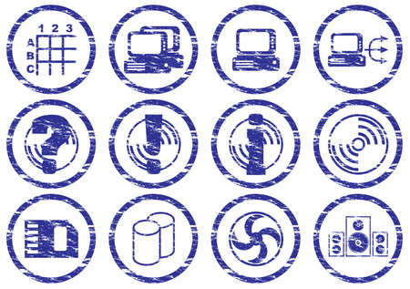 Gadget icons set. Grunge. White - dark blue palette. Vector illustration. Vector