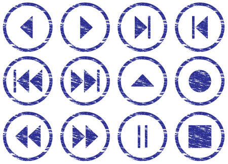 Multimedia navigation buttons set. White - dark blue palette. Vector illustration. Stock Vector - 5101141