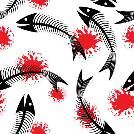 Skeleton of fish. Fun. Seamless abstract background. Vector illustration. Stock Vector - 5101138