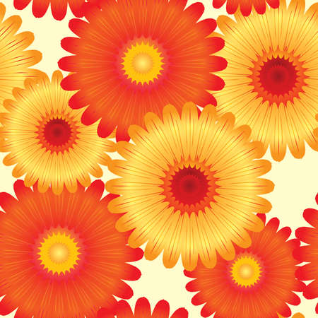 flora vector: Abstract flowers background. Seamless. Yellow - orange palette. Vector illustration.
