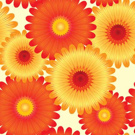 naranja caricatura: Resumen flores fondo. Sin fisuras. Amarillo - naranja paleta. Ilustraci�n vectorial.