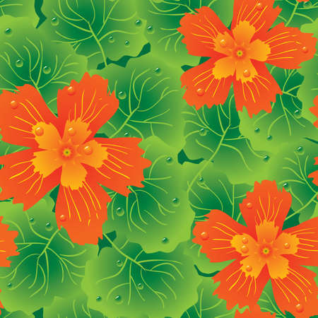 Abstract flowers background. Seamless. Orange - green palette. Vector illustration. Vector