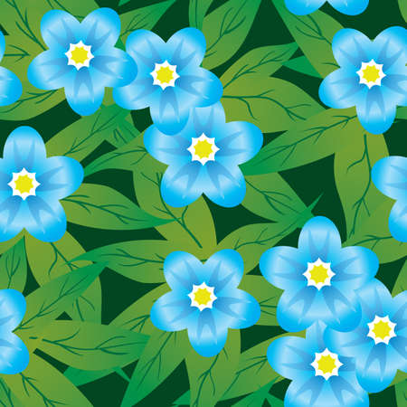 Abstract forget-me-nots flowers background. Seamless. Blue - green palette. Vector illustration. Vector