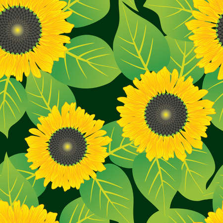 Abstract sunflowers flowers background. Seamless. Yellow - green palette. Vector illustration. Vector