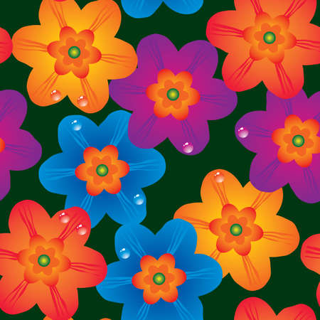 Abstract flowers background. Seamless. Multicolor palette. Vector illustration. Vector