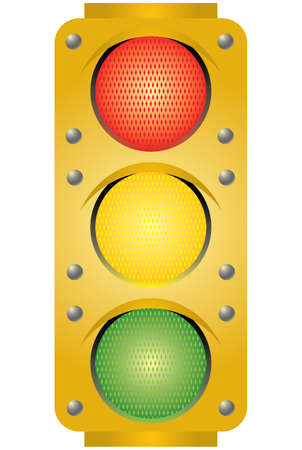 Yellow traffic light. Vector illustration. Isolated on white background. Vector