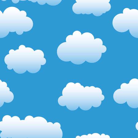 skies: Abstract clouds background. Seamless. White - blue palette. Vector illustration.