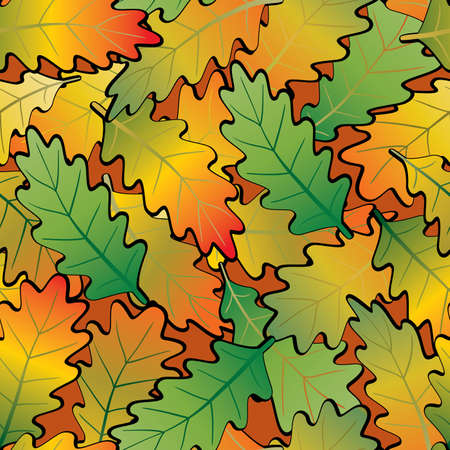 Oak leaf abstract background. Seamless. Orange - green palette. Vector illustration. Vector
