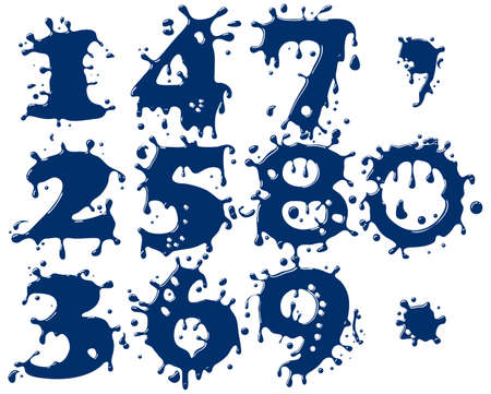 Abstract digits symbols as form of blue drop. Vector illustration. Vector
