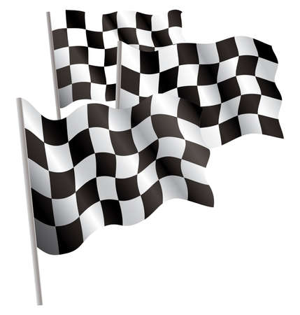 Racing-sport finish 3d flag. Vector illustration. Isolated on white.