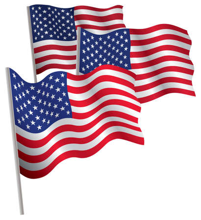 capitalismo: USA 3d flag. Vector illustration. Isolated on white.
