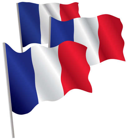 France 3d flag. Vector illustration. Isolated on white. Vector