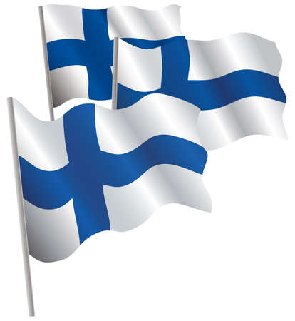 suomi: Finland 3d flag. Vector illustration. Isolated on white. Illustration