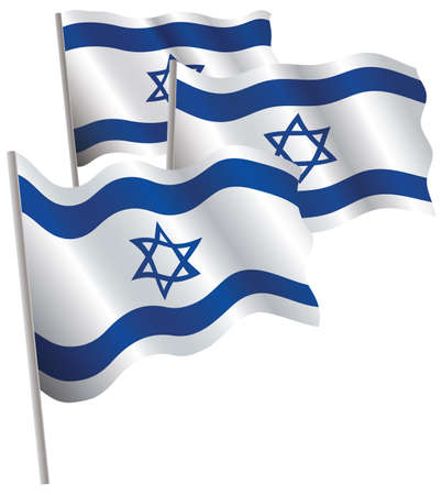 Israel 3d flag. Vector illustration. Isolated on white. Vector