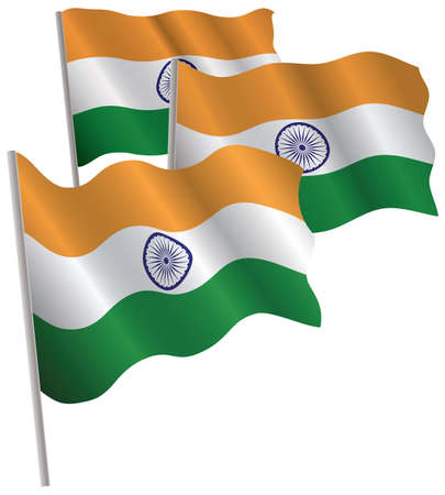 India 3d flag. Vector illustration. Isolated on white. Vector