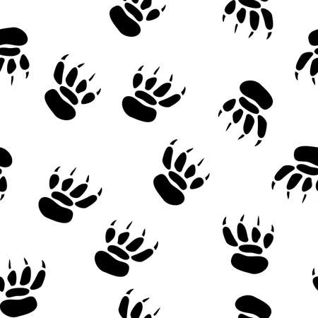 pawprint: Abstract pawprint background. Seamless. Black-and-white palette. Vector illustration.
